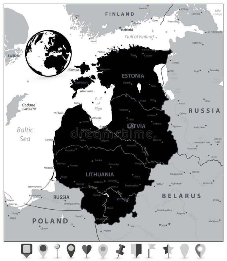 波罗的海国家和平的地图尖的黑地图 皇族释放例证