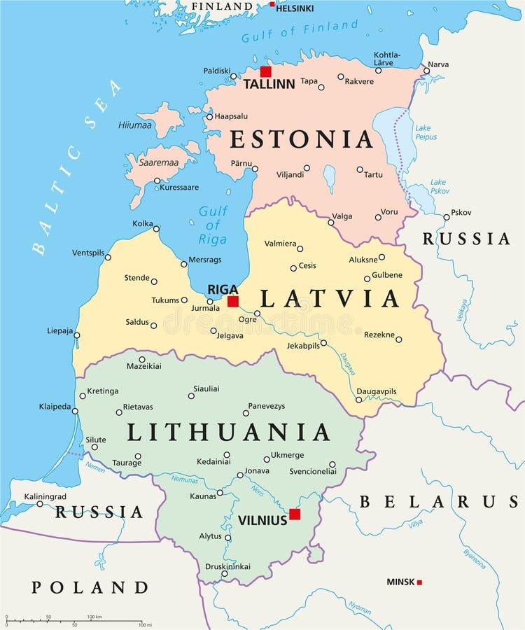 波罗的海国家政治地图 向量例证