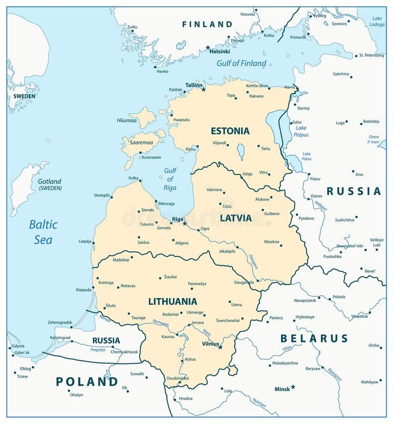 波罗的海国家的地图 皇族释放例证