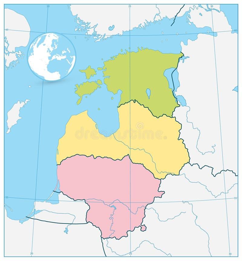波罗的海国家的政治地图 没有文本 库存例证