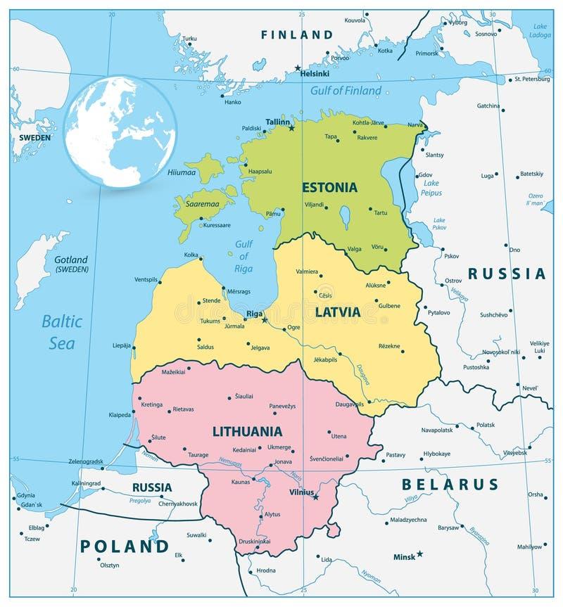 波罗的海国家的政治地图 向量例证