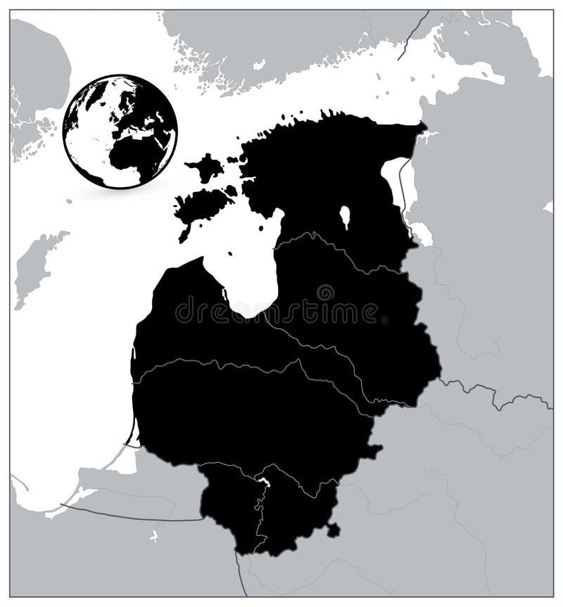 波罗的海国家的黑地图 没有文本 皇族释放例证