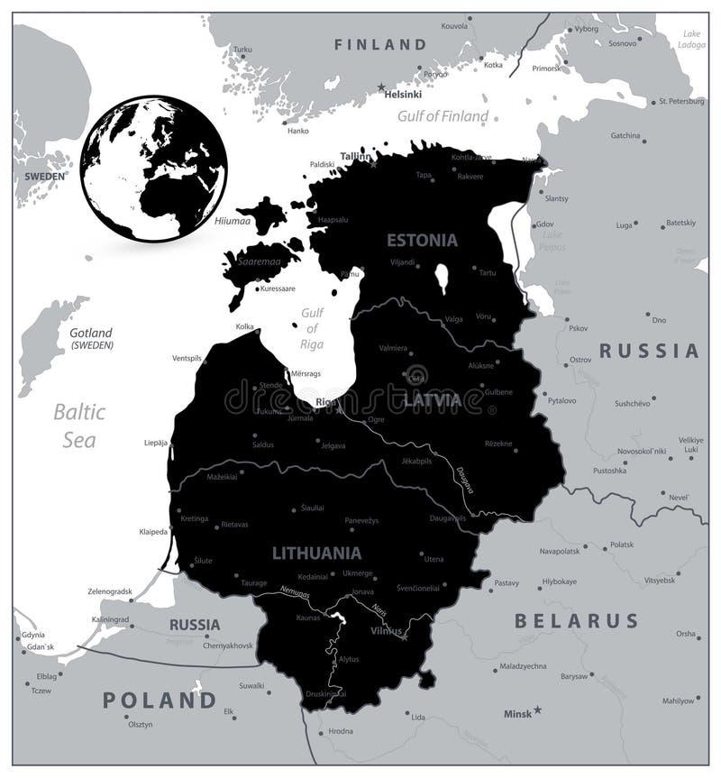 波罗的海国家的黑地图 向量例证
