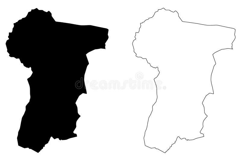 波萝勉省柬埔寨王国,柬埔寨,柬埔寨地图传染媒介例证,杂文剪影牺牲者Veng地图省  向量例证