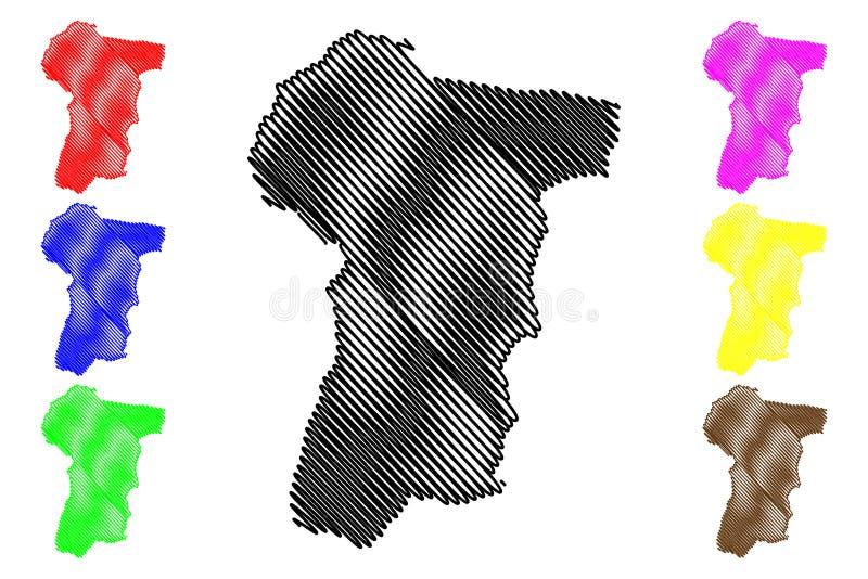 波萝勉省柬埔寨王国,柬埔寨,柬埔寨地图传染媒介例证,杂文剪影牺牲者Veng地图省  皇族释放例证