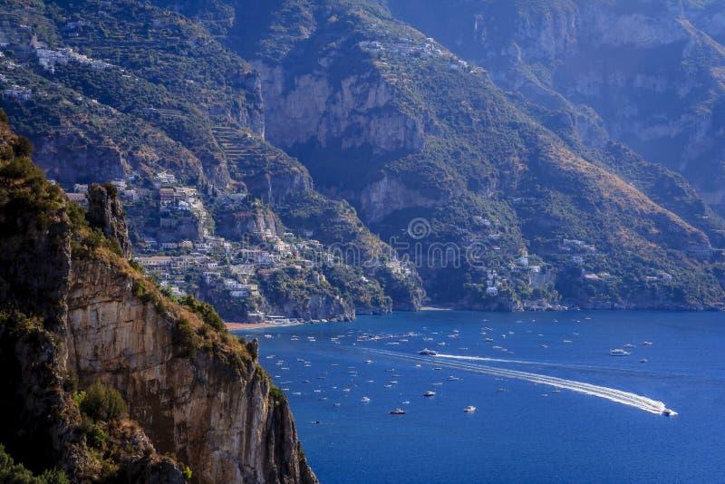 波西塔诺,意大利的阿马尔菲海岸的 库存照片