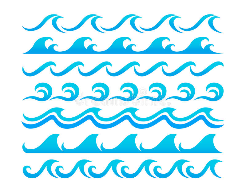 水波设计元素传染媒介集合 库存例证