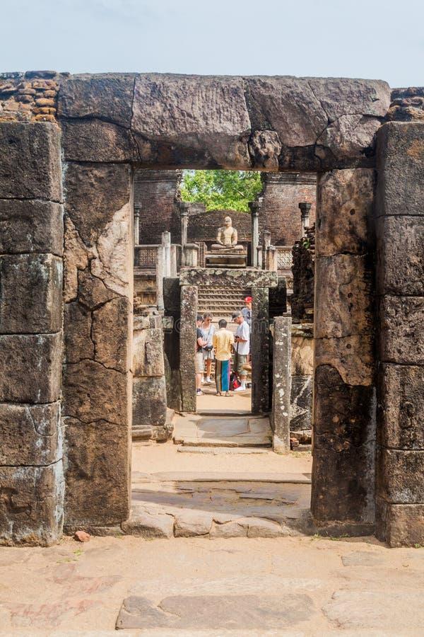 波隆纳鲁沃,斯里兰卡- 2016年7月22日:Hatadage,古老遗物寺庙在城市波隆纳鲁沃,斯里Lan 图库摄影