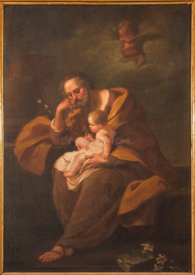 波隆纳,意大利- 2014年3月15日:圣约瑟夫油漆巴洛克式的教会圣玛丽亚della的维塔 免版税库存图片