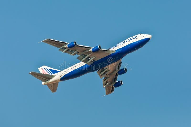 波音747-200 Transaero航空公司从Sharm El谢赫离开 图库摄影