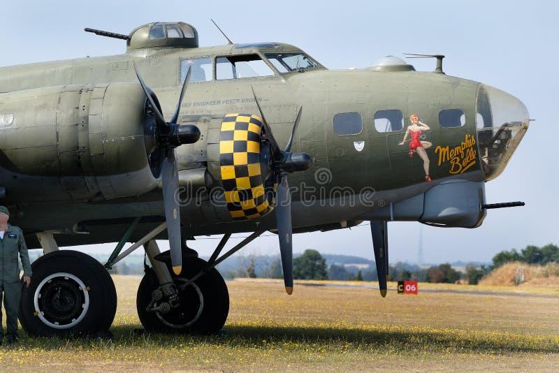 波音B-17飞行堡垒是美国陆军空军的20世纪30年代开发的一架四引擎的重型轰炸机 免版税库存照片