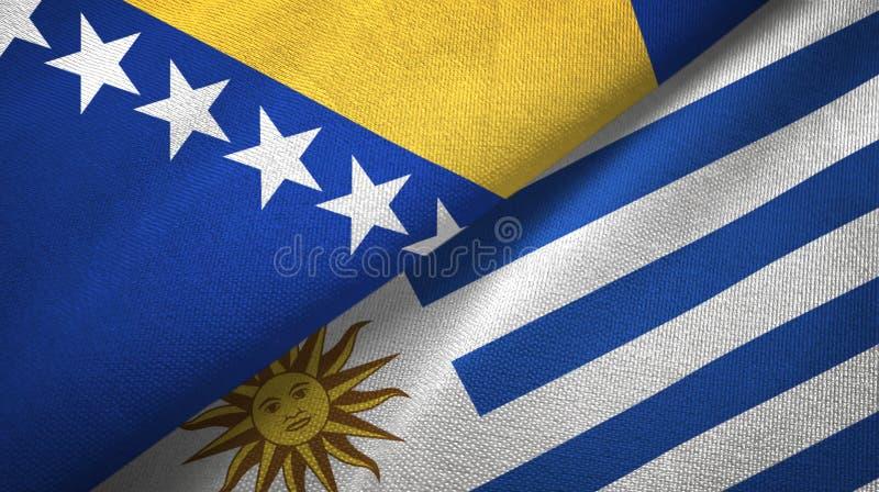 波黑和乌拉圭两旗子纺织品布料,织品纹理 库存例证