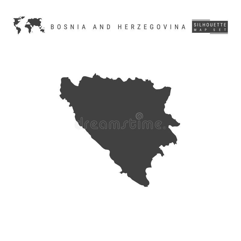 波黑在白色背景隔绝的传染媒介地图 波斯尼亚的高详细的黑剪影地图 库存例证