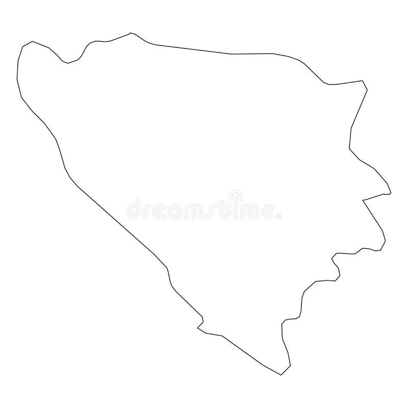 波黑-国家区域坚实黑概述边界地图  简单的平的传染媒介例证 库存例证