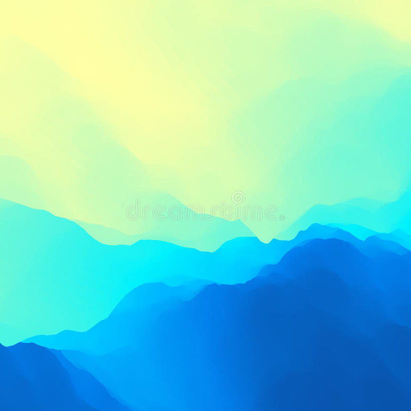 水波 金黄波纹水面 背景蓝色云彩调遣草绿色本质天空空白小束 现代模式 您设计新例证自然向量的水 流的背景 向量例证