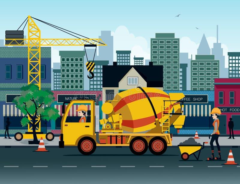 水泥卡车 向量例证