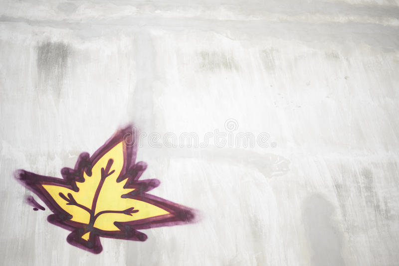 水泥叶子油漆墙壁 免版税库存照片