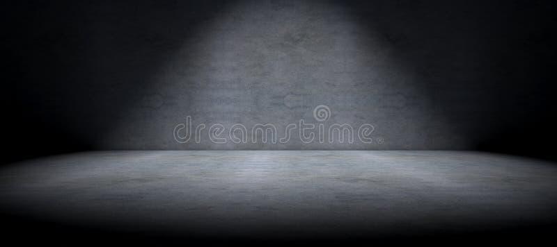 水泥地板背景和斑点光 库存例证