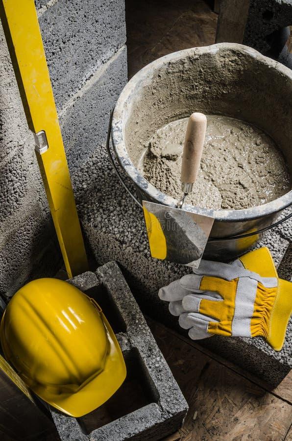 泥工的工具,特写镜头 免版税库存照片