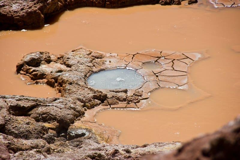 泥泞和生锈的水/火山运动的清楚的水池在智利 免版税库存照片
