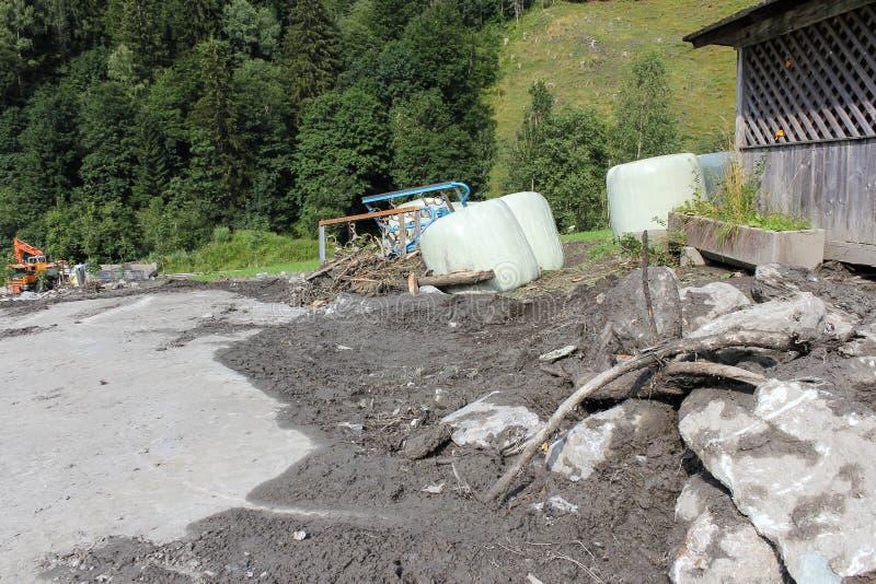 泥流结疤跟随大雨的奥地利的山坡 欧盟 库存图片