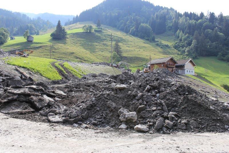 泥流结疤跟随大雨的奥地利的山坡 欧盟 免版税库存图片