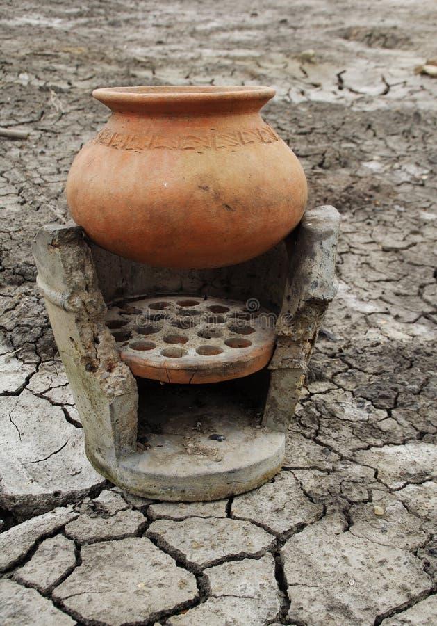 泥罐和古老火炉 库存图片