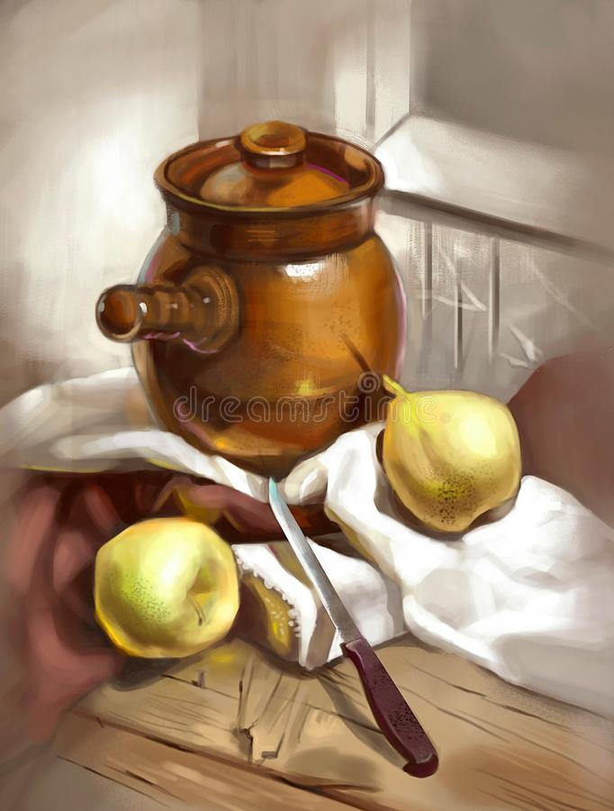 泥罐的例证烹调的 皇族释放例证