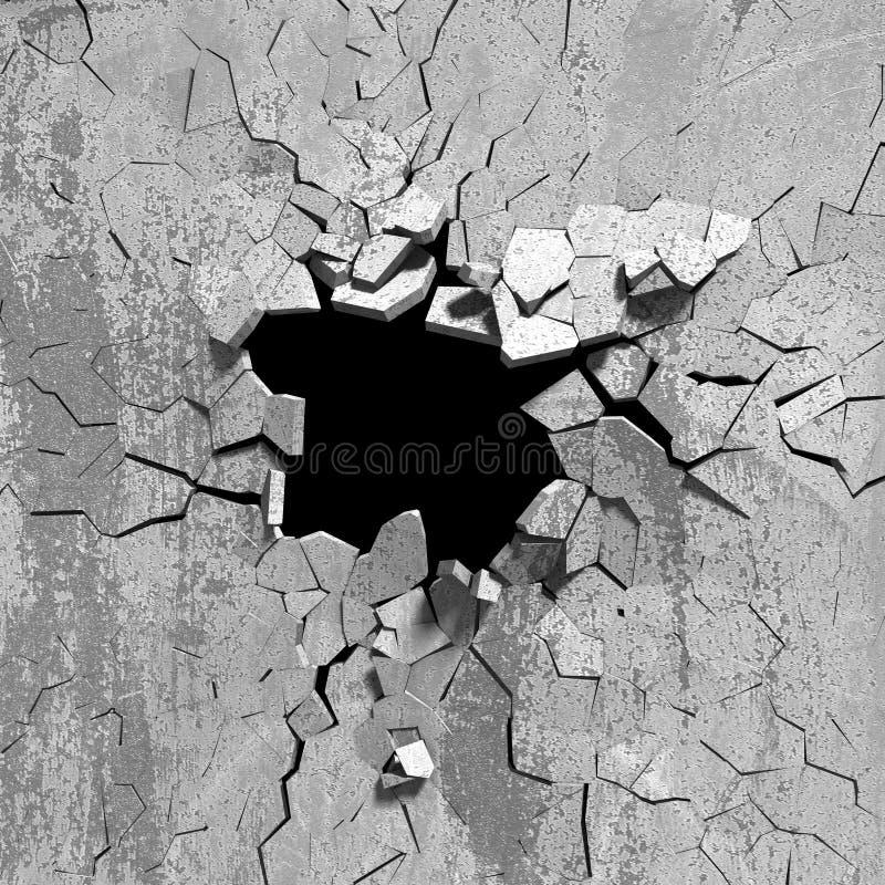 水泥老墙壁黑暗的爆炸孔  皇族释放例证