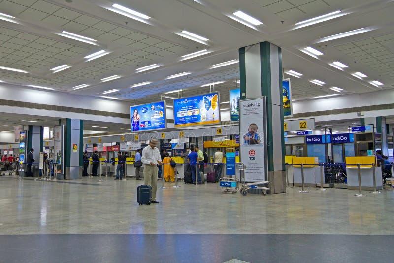 注册台在艾哈迈达巴德机场 免版税库存图片