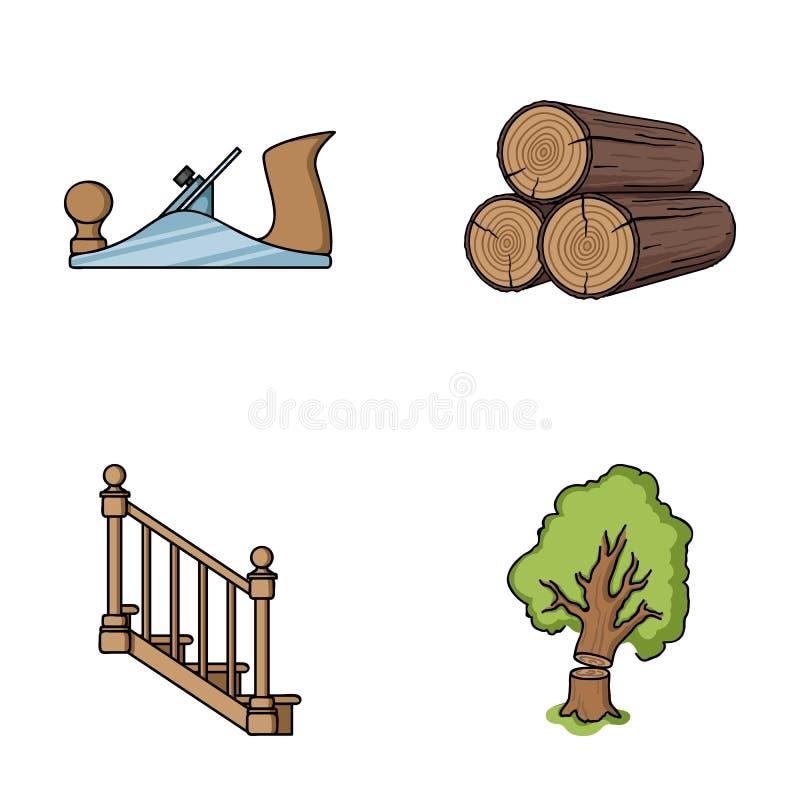 注册堆,飞机,树,与扶手栏杆的梯子 在动画片样式传染媒介的锯木厂和木材集合汇集象 皇族释放例证