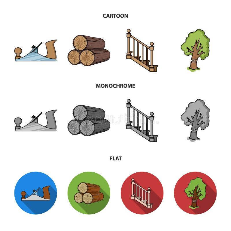 注册堆,飞机,树,与扶手栏杆的梯子 在动画片的锯木厂和木材集合汇集象,平,单色 皇族释放例证