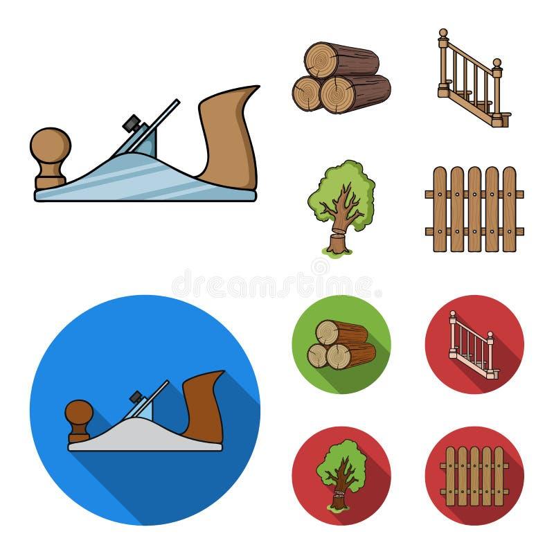 注册堆,飞机,树,与扶手栏杆的梯子 在动画片,平的样式的锯木厂和木材集合汇集象 库存例证