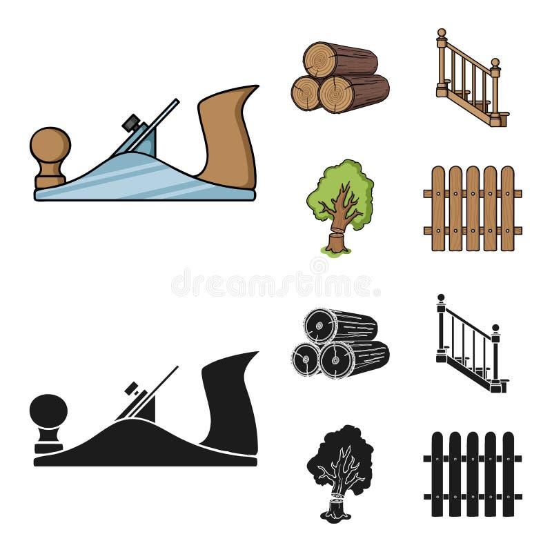 注册堆,飞机,树,与扶手栏杆的梯子 在动画片,黑样式的锯木厂和木材集合汇集象 向量例证