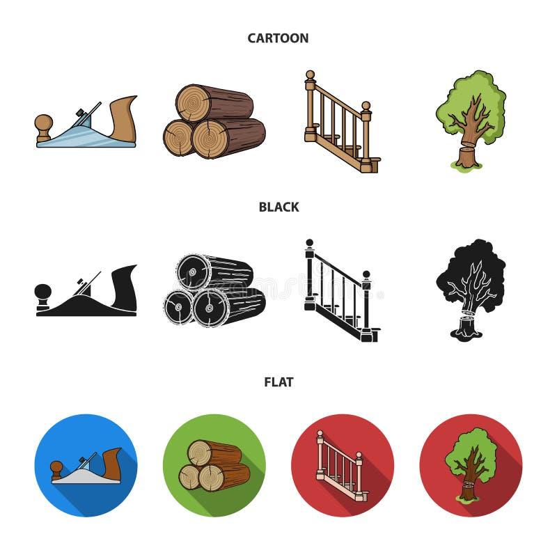 注册堆,飞机,树,与扶手栏杆的梯子 在动画片,黑色,平的样式的锯木厂和木材集合汇集象 向量例证