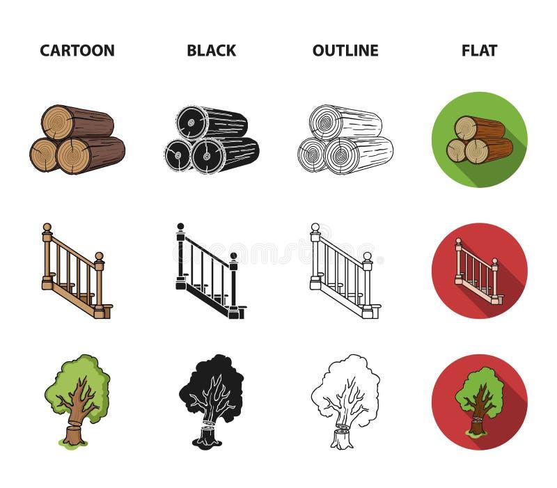 注册堆,飞机,树,与扶手栏杆的梯子 在动画片,黑色,概述的锯木厂和木材集合汇集象 向量例证