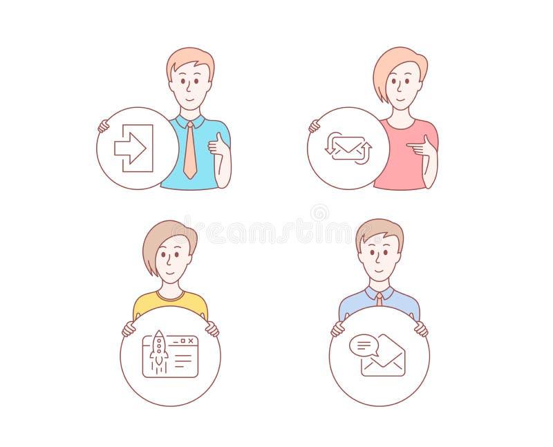 注册,刷新邮件并且开始企业象 新的邮件标志 签到,新的电子邮件,发射想法 收到的电子邮件 向量 皇族释放例证