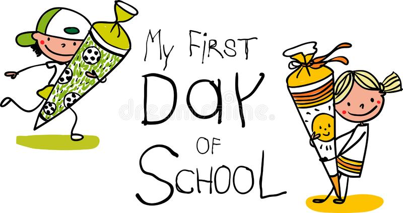 注册-第一天学校-与学校锥体-五颜六色的手拉的动画片的逗人喜爱的第一辆平地机 库存例证