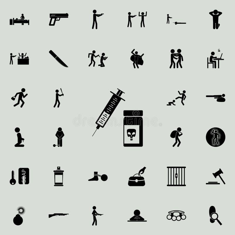 注射器和毒物银行象 详细的套罪行象 优质质量图形设计标志 其中一个我们的汇集象 库存例证