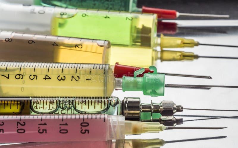 注射器的几种类型缓和关心的 库存照片