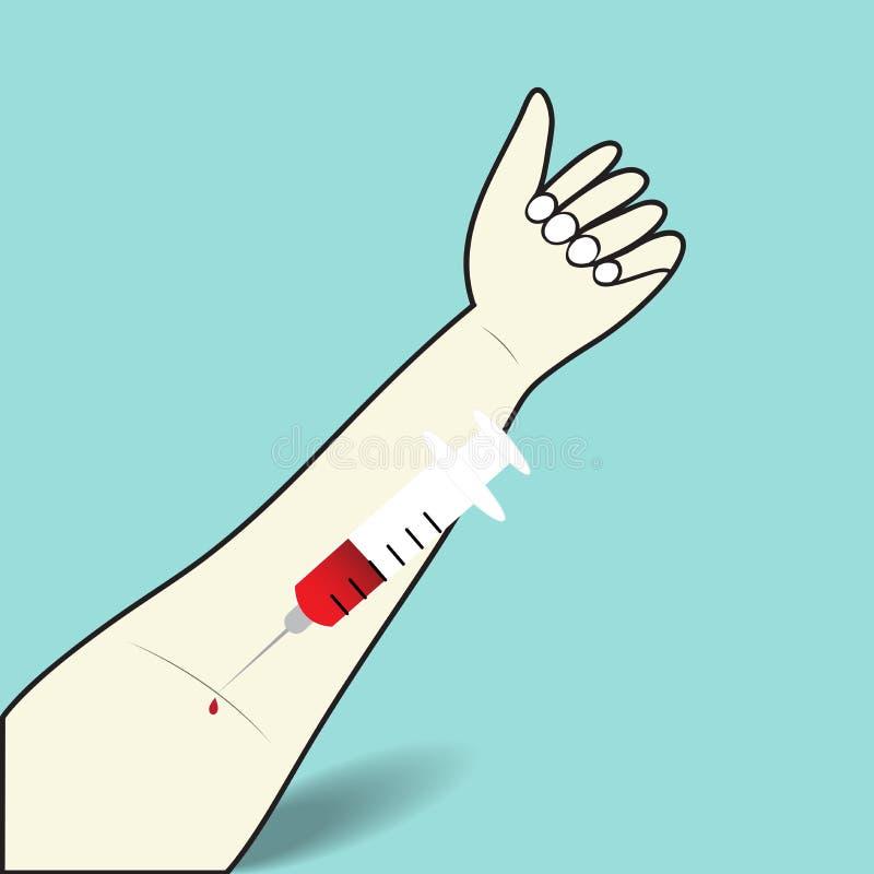 注射器验血在胳膊静脉的 库存例证