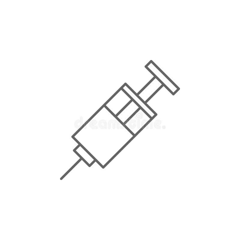 注射器,毒品图标 医学图标元素 细线图标 库存例证
