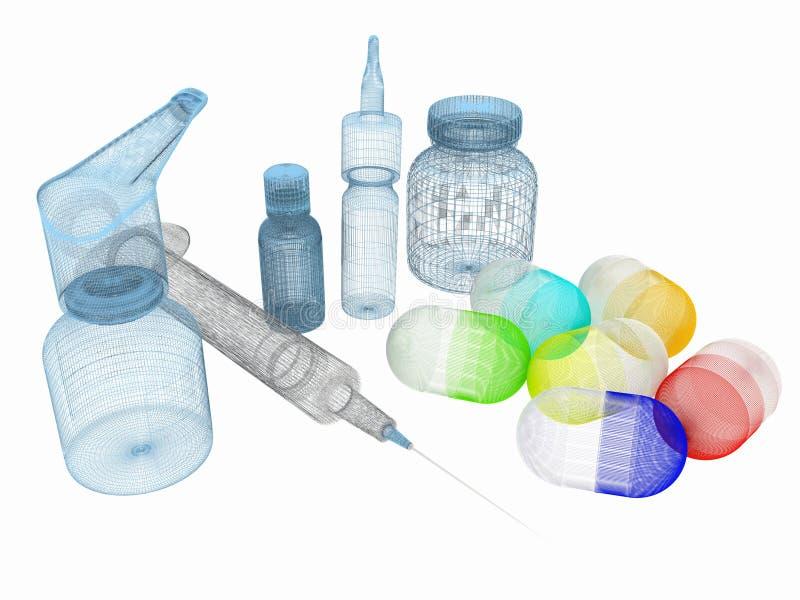 注射器,片剂,药片瓶子 皇族释放例证