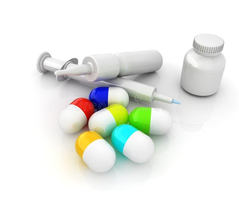 注射器,片剂,药片瓶子 库存例证