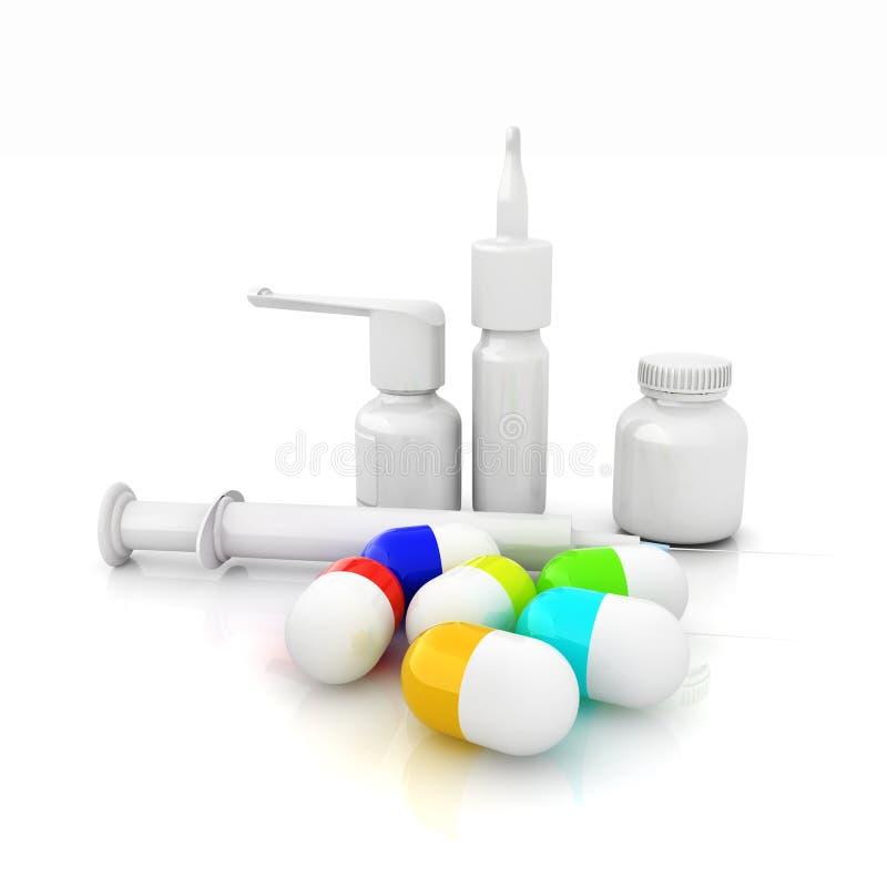 注射器,片剂,药片瓶子 向量例证