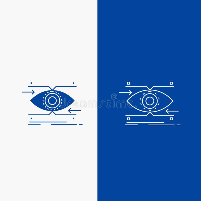 注意、眼睛,焦点,看,视觉线和纵的沟纹网按钮在蓝色垂直的横幅UI的和UX,网站或者机动性 皇族释放例证