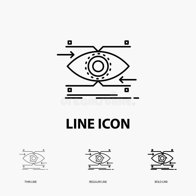 注意、眼睛,焦点,看,视觉象在稀薄,规则和大胆的线型 r 库存例证
