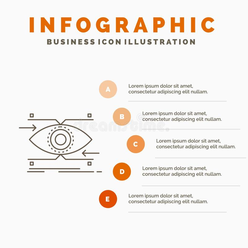 注意、眼睛,焦点,看,视觉Infographics模板网站的和介绍 r 皇族释放例证