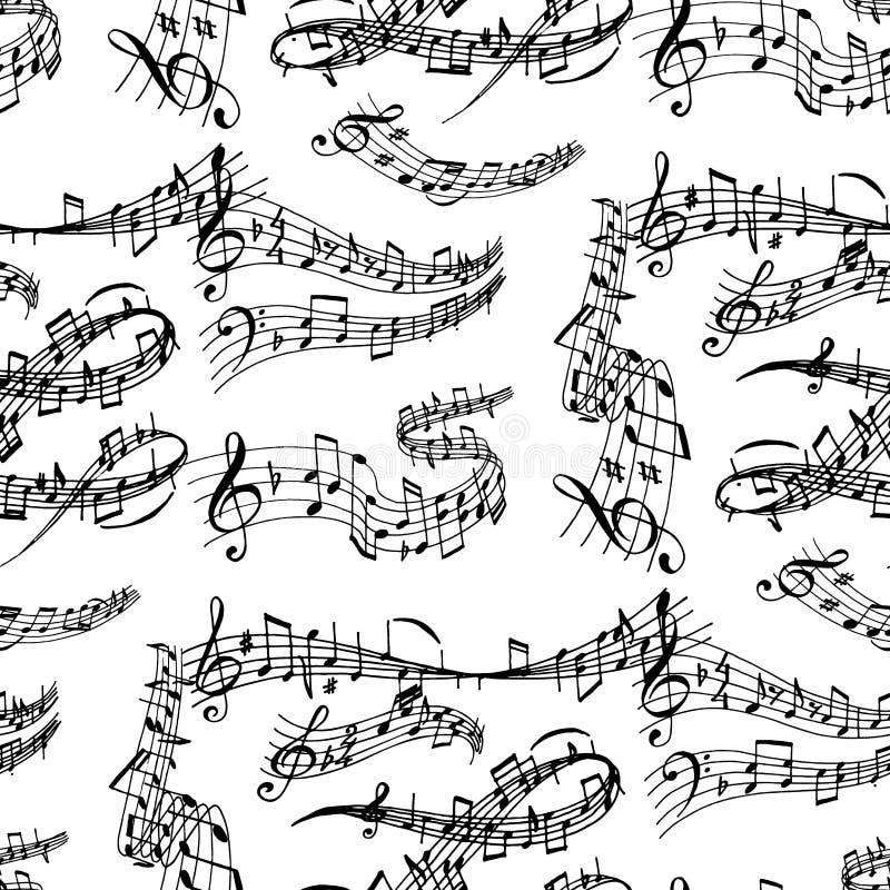 注意写音频交响乐的音乐曲调colorfull音乐家标志合理的曲调无缝的样式背景文本 库存例证