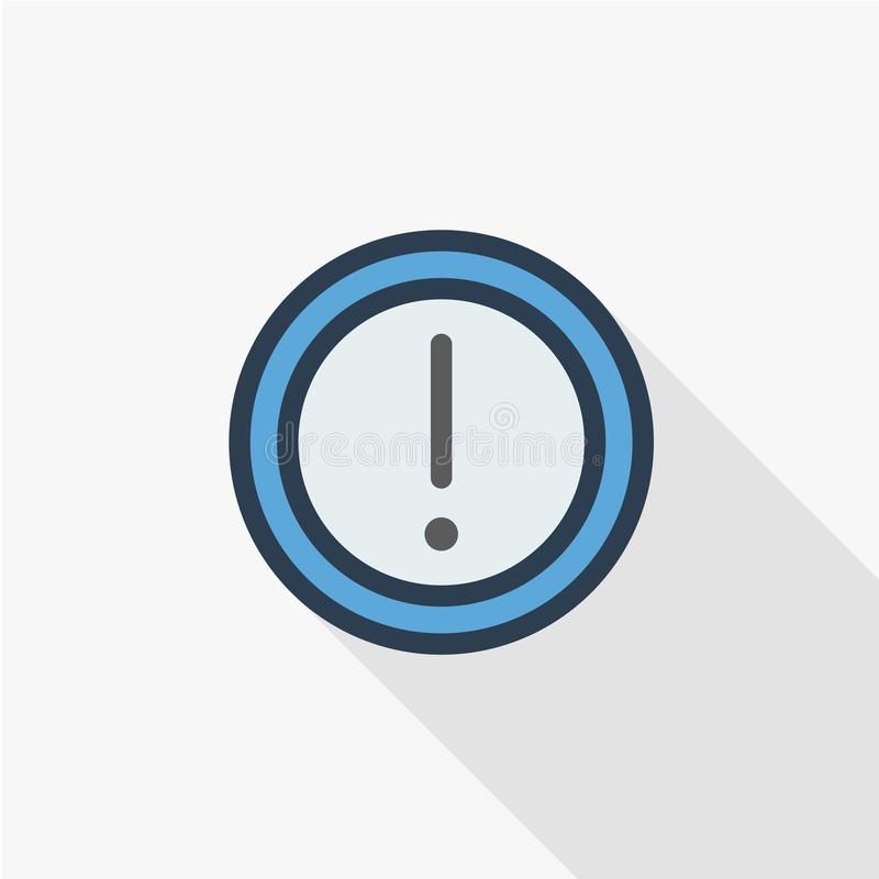 注意小心标志 感叹号 警告的危险稀薄的线平的颜色象 线性传染媒介标志 五颜六色长 向量例证